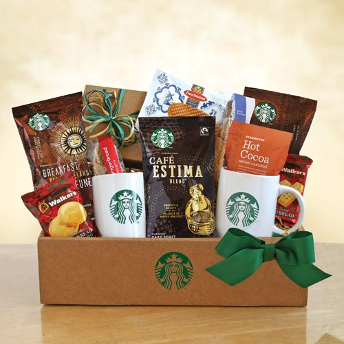 Holiday Starbucks Coffee Gift Basket - Baskets for Her