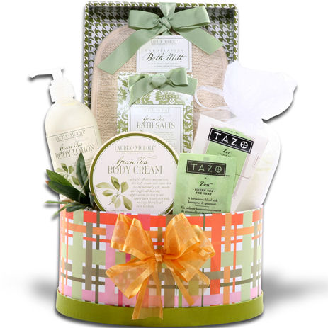 Green Tea Bath Gift Basket Baskets For Her