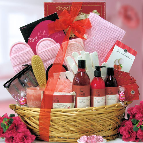 Relax In Luxury Pomegranate Spa Gift Basket Baskets For Her