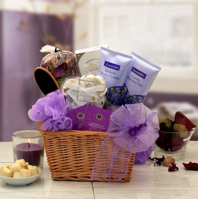 Lavender Relaxation Spa Gift Basket Baskets For Her