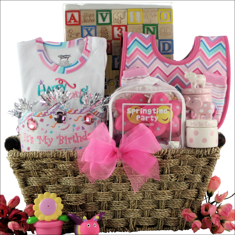 Babys First Birthday Large Baby Girl Gift Basket